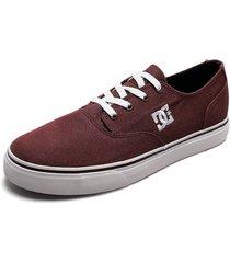 tenis skateboarding vinotinto-blanco dc shoes flash 2 tx