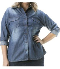 camisa jeans confidencial extra manga longa plus size feminina