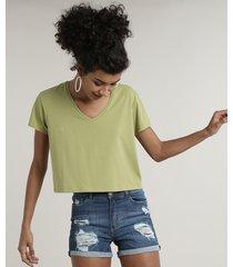 blusa feminina básica cropped manga curta decote v verde