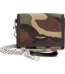 saint laurent camouflage print chain wallet - green