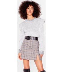 womens get on with slit check mini skirt - grey