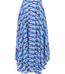 blue checks french riviera skirt