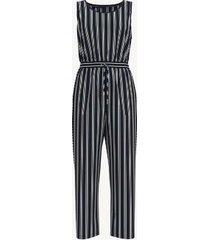 tommy hilfiger women's essential sleeveless stripe jumpsuit navy stripe - l