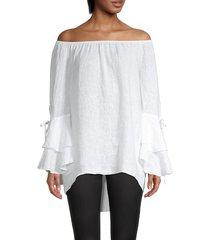 saks fifth avenue women's linen off-the-shoulder top - white - size s