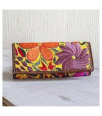 handwoven cotton wallet, 'flowers of antigua' (guatemala)