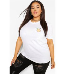 plus peachy pocket print t-shirt, white