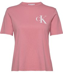 back institutional logo slim tee t-shirts & tops short-sleeved rosa calvin klein jeans