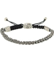 adjustable double sterling silver chain bracelet