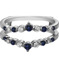 0.20 ct sapphire & diamond enhancer wrap engagement ring 14k white gold fn
