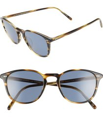 women's oliver peoples forman l.a. 51mm polarized round sunglasses - cocobolo/ blue