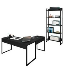 mesa em l e estante para escritório studio industrial m18 preto – mpozenato