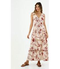 vestido de mujer, cuello en v cruzado, manga sisa, con estampado floral