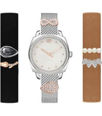 jessica carlyle women's interchangeable strap & sliding charm watch 34mm gift set