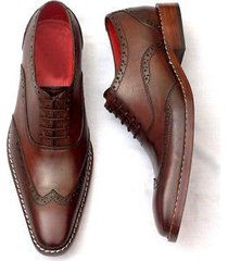 handcraft oxford brown leather shoes, formal wing tip dress tuxedo shoes for men
