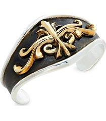 goldplated sterling silver scroll shield cuff bracelet