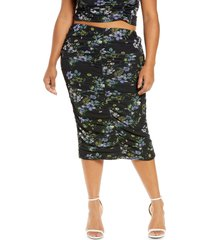 afrm venice floral ruched powermesh skirt, size 2x in spring noir bouquet at nordstrom