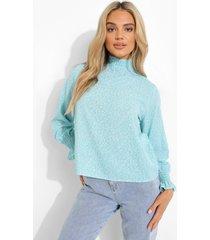 doorschijnende blouse met stippen en hoge hals, blue