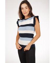 blusa regata pink tricot de tricã´ canelado com bababos e listras feminina - azul/azul marinho/branco/estampado/lilã¡s/listra/listrado/multicolorido/r