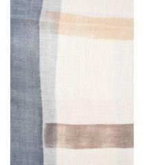 altea stripe patterned frayed scarf