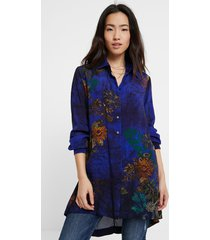 long flowing print shirt - blue - l