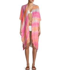lulla collection by bindya women's tie-dye kimono coverup - orange pink