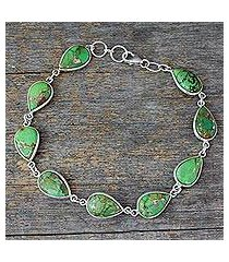 sterling silver tennis bracelet, 'serenity in green' (india)