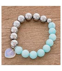 aquamarine and moonstone beaded stretch bracelet, 'oceanic heart' (costa rica)