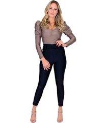 calça miss misses skinny de cirrê feminina - feminino