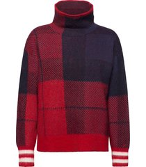 icon check high-nk sweater ls turtleneck coltrui rood tommy hilfiger