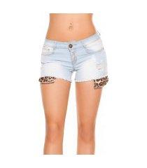 sexy gebruikte used look jeans shorts met luipaard print jeansblauw