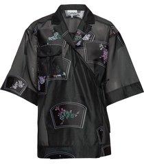 patch organza blouses short-sleeved zwart ganni