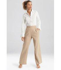 natori solid linen wide leg pants, women's, size l
