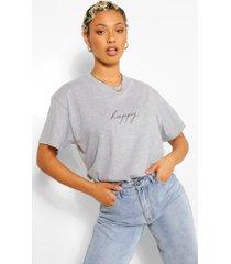 happy oversized slogan t-shirt, grey