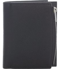 maison margiela grainy leather embossed flip flap wallet