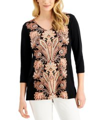 jm collection printed crepe top, created for macy's