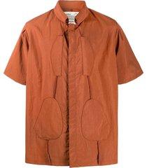 a-cold-wall* drawstring collar short-sleeved shirt - brown