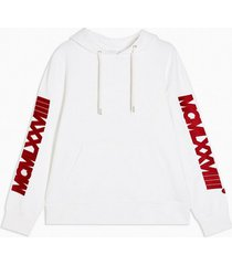mens white embroidered sleeve hoodie
