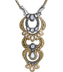 american west two-tone white mother of pearl statement necklace