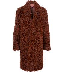sies marjan blaine shearling raglan coat - red