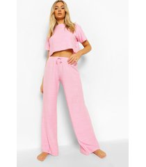 woman badstoffen crop top, pink