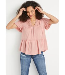 maurices womens solid lace neck babydoll top pink