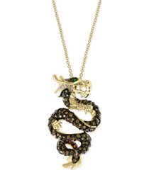 "effy diamond (1 ct. t.w.) & emerald accent dragon 18"" pendant necklace in 14k gold"