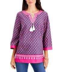 charter club 3/4-sleeve split neck tassel top, created for macy's