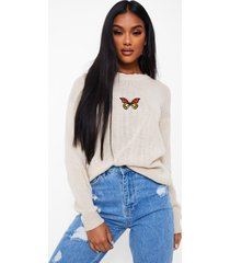 butterfly embroidered sweater, stone