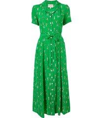 hvn maria tennis-print shirt dress - green