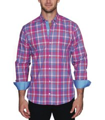 tailorbyrd men's textured plaid button down shirt