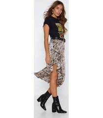 womens snake your time ruffle skirt - brown