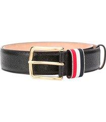 striped loop pebbled leather belt, black