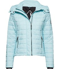 hooded box quilt fuji jacket doorgestikte jas blauw superdry