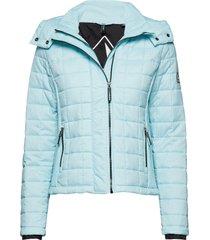 hooded box quilt fuji jacket doorgestikte jas blauw superdry